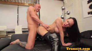Booted latina tgirl with booty doggystyled