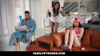 FamilyStrokes - Fucking My Sexy Stepdad While Mom Sleeps  step daughter big tits big cock canadian asian tattoo busty hardcore brunette stepdad familystrokes shaved big boobs step daddy cum shot brenna sparks step father