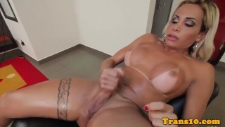 Heeled latina tgirl toys ass while jerking
