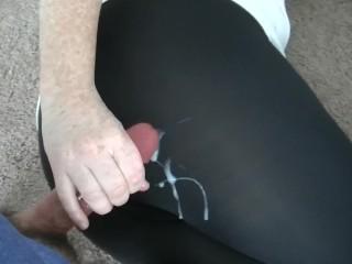 Jerked my husband off onto my skin tight black leggings