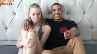 Hot Teen Blonde Takes A Giant Light Skin BBC! SEXY GUY with tattoos! Natural petite