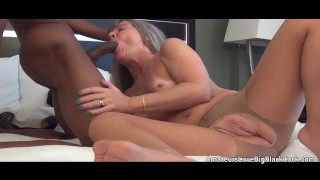 Mature fucked and creampied in her crotchless stockings