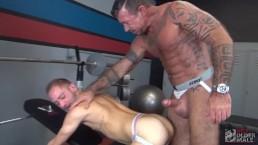 Muscle Daddy Ray Dalton Bareback Fucks Dirty Pup Dek at the Gym