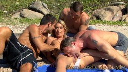 hot blonde slut outdoor gangbang with 3 big cocks anal double penetration