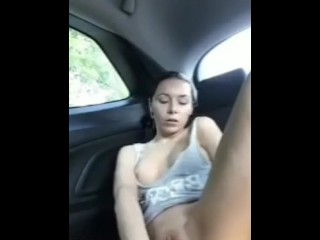 Hot fingering pussy in car