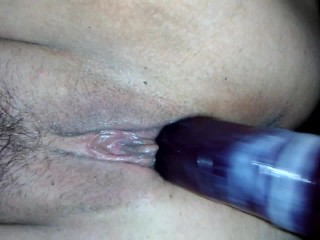 Cum Filled Condom On Dildo Fucks My Hairy Pussy Close Up Big Labia Milf