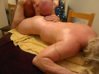 FBB gets oily body rub then her Arse eaten and fingered.
