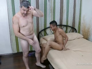 Daddy Bareback Flip Fucks Asian Boy Craig