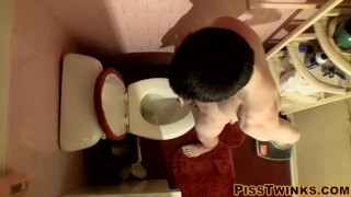 Devin Reynolds grabs his cock and unloads in the toilet Rubbing pussy