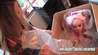 Naughty Tinkerbell plays with her realistic surprise erotic sex doll