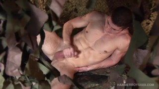 Muscular Young Soldier Rob Koubek Jerks Off