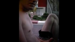 Car Jack - Outdoor  car european jerk off jogging pants public masturbation outside nipples cumshot public