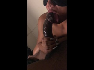 first time on camera sexy ebony sloppy blowjob in the pose