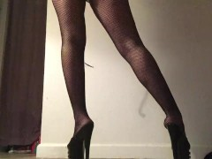 Fishnets and Stripper Heels Sexy Tease Feet POV