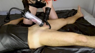 Latex mistress femdom milking cock with vacuum pump  femdom mistress femdom handjob milking cock femdom milking femdom handjob kink vacuum pump milking latex pump milking machine femdom pump penis pump pump cum milking handjob