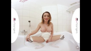 TS VR Porn - Big Tits TS Masturbating and ass play in the bathtub Russian shaved