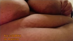 Hot Black SSBBW shows Big tits jiggles big belly and fingering belly button