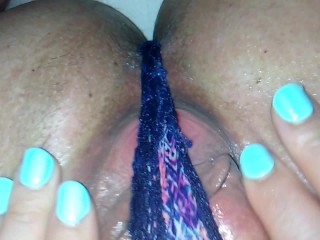 Panty Fuck Close Up His & Her POV ! Cameltoe MILF Rubs Jizz In Her Panties