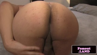 Solo tgirl cock lingerie tugging her bigbooty spreading shemale