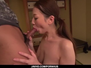 Tsubasa Takanashi moans with dick deep in her tiny pussy