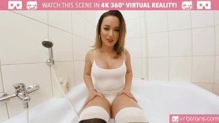 VRB Trans - Big Tits TS Masturbating and ass play in the bathtub