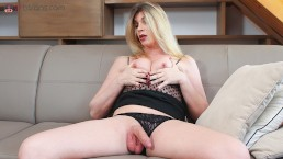 VRB Trans Small Tits Blonde TS Milf masturbating and ass play