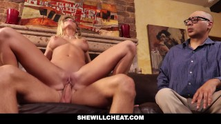 SheWillCheat - Cuckold Husband Watches Wifes Pussy Get Destroyed Rubbing pussylicking