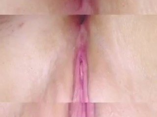 Upclose pussy play ending in a shaking orgasum