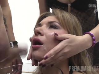 Preview 1 of Premium Bukkake - Katy swallows 75 huge mouthful cumshots