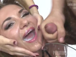 Preview 6 of Premium Bukkake - Katy swallows 75 huge mouthful cumshots
