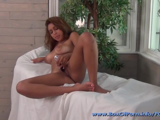 Tina Hot - supercute redhead plays with a double