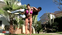 Muscular woman holding her toyboy and gets fucked
