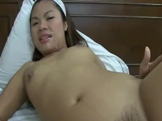 Cute little asian cocksucker from Philippines drinks sperm like a bitch