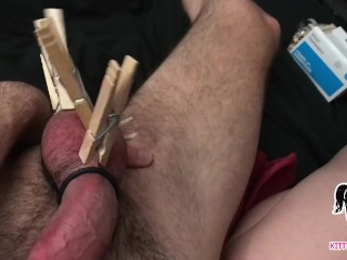 Playing with Pussy - Clothespins on Balls - Foot Cumshot Request from Fan