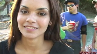 College girl Daisy Marie goes slutty with her girlfriends at frat party