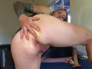 Ass Fucking Masturbation with Huge New Cock and Balls Toy