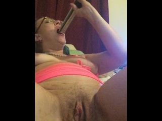 Babe in Glasses Cums A lot w/ Huge Vibe & Big Plug in Ass