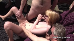Teen Jessica naked and surrounded by a group of older men