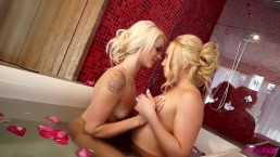 Sensual seduction with two blonde cuties