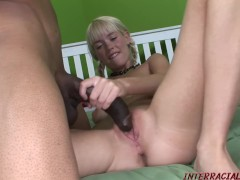Skinny girl Kissy Kapri split by huge black cock