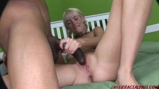 Skinny girl Kissy Kapri split by huge black cock