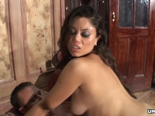 Gorgeous and busty brunette expertly makes a hung dude cum