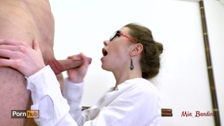 Hot teacher seduces her student fucking her ass to mouth. Mia Bandini Brunette on