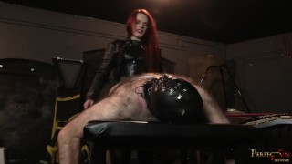 Strap On Domination Mistress Rebekka Raynor fucks her man slave