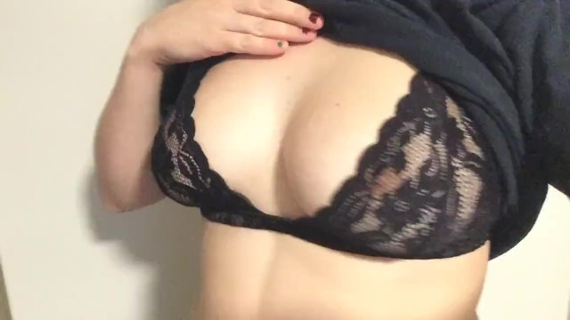 B cup to d cup breast - Quick tease: playing with my d cup tits