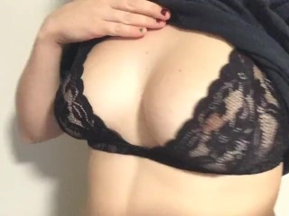 QUICK TEASE: Playing with my D cup tits