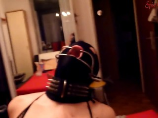 POV Assfuck orgasm with dental gag birthday celebration slave slut