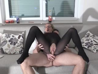Crazy nylon fuck extremely cum load
