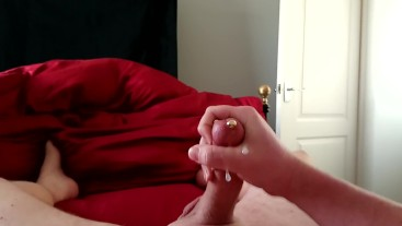 Bedroom fun playing with my Pierced Cock (Prince Albert) Nice Cumshot