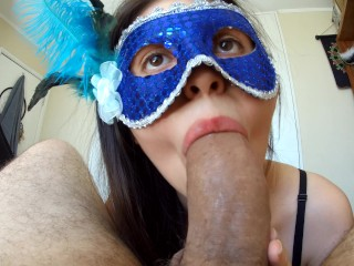 Hot Masked Girl Sucks dick like a goddess!